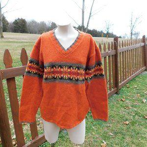 Eddie Bauer Wool V Neck Sweater Size Petite Medium